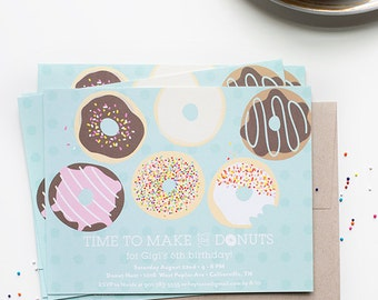 time to make the donuts | customizable birthday invitations