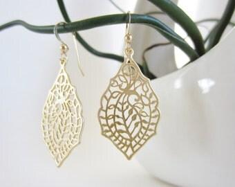 Marquise earrings, small filigree earrings, gold laser cut earrings, small gold dangle earrings, delicate earrings, gold fern earrings