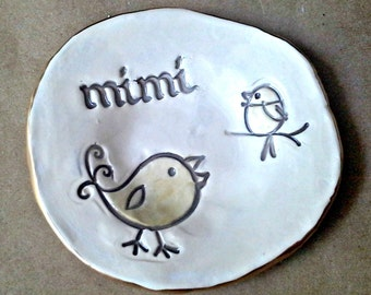 Ceramic Trinket Bowl  edged in gold MIMI  Mothers day
