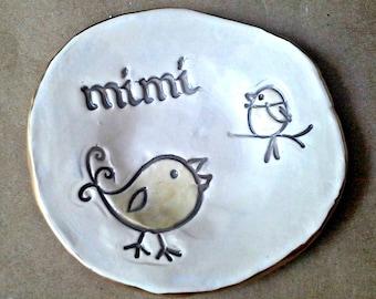 Ceramic Trinket Bowl  edged in gold MIMI