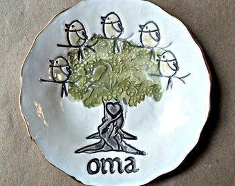 OMA  Family Tree with 5 Birdies Ceramic  Trinket Bowl  Mothers Day Gift