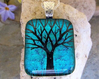 SALE Tree Pendant Dichroic Necklace,  GREEN Hand Etched Glass Art