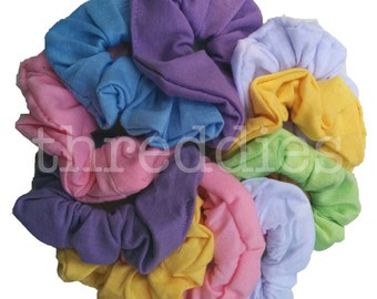 10 cotton scrunchies // pastels, rainbow colors, dark colors, black, or black and white