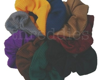 thermal scrunchies, set of 9 in rainbow colors, dark colors or all black // 90s