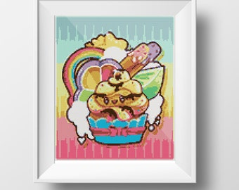 Rainbow Cupcake Cross-Stitch Pattern