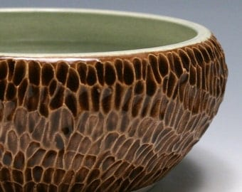 Carved Pottery Bowl in Espresso Brown and Sage Green