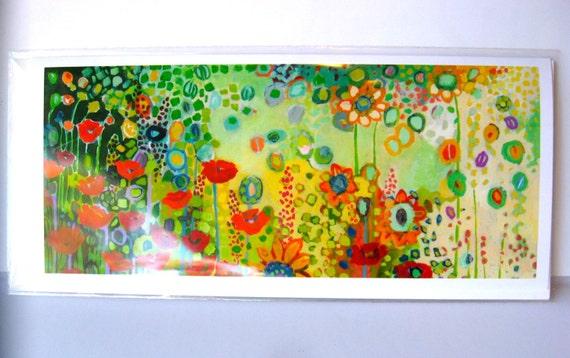 Skinny Card - Garden Poetry - 4 x 9 Blank Note Card by Jenlo