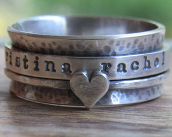 Rustic Ring Spinner Personalized Ring Sterling Silver Jewelry Hand Stamped Ring