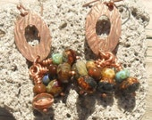 Gypsy Song Earrings, Copper Artisan Handmade SRA Glassymom
