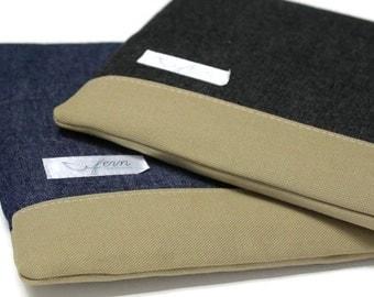 "12-inch MacBook Case Laptop Cover 11.6"" Laptop Sleeve - Black or Blue Denim"