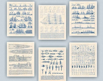 Nautical Art, Sailor Knots Print,  Sail Row boats, Passenger ship, Prints & Poster, Decorative arts, Sailing club, Sail center,  11x14 set 6
