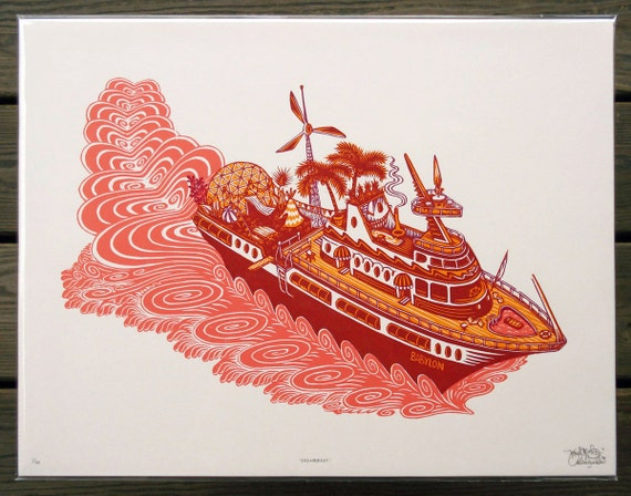 Dreamboat - Woodcut Print, Woodblock Print by Tugboat Printshop