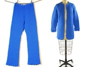 1960s Crochet Bellbottoms & Jacket Set / One of a Kind Pants and Cardigan