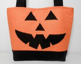 Pumpkin Tote Bag, Orange Halloween Purse, Smiling Pumkin Appliquéd Medium Tote with Pockets