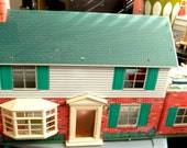 Marx tin litho metal two-story Colonial Dollhouse, 1965