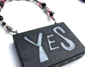 SALE - Yes Sign - Hand Lettered Black and White Word Art Sign for bedroom wall or bathroom door