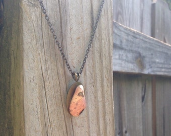 Pink and peach stone necklace