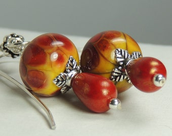 AUTUMN Handmade Lampwork Bead Dangle Earrings