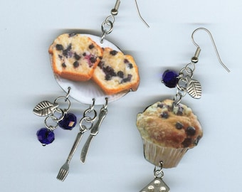 Blueberry Muffin Earrings - fork knife muffin tin charms - baking baker's waitress coffee shop gift - mismatched earrin Designs by Annette