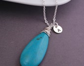 Long Turquoise Necklace, Personalized Necklace, Sterling Silver Necklace with Optional Charm, Turquoise Pendant
