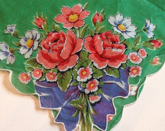 Vintage green flower hanky