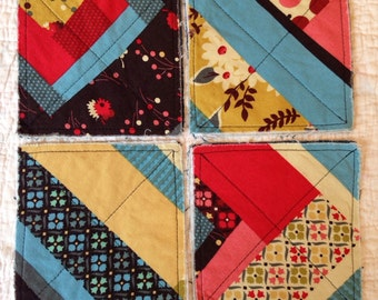 Quilted Patchwork Cotton Fabric Coasters Set of 4 with Denyse Schmidt fabric