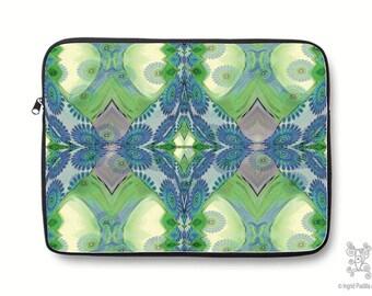 Boho, Bohemian, Blue, vintage, Neoprene, Laptop Sleeve, Macbook case, Laptop case, Laptop Cover, Ingrid Padilla, Abstract Art