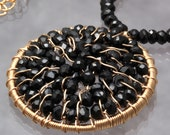 Black Spinel Wire Wrapped Circle Pendant Necklace