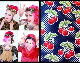 Polka Dot Navy Cherry Bow Bandana, Cherry Head Scarf -Retro Rockabilly