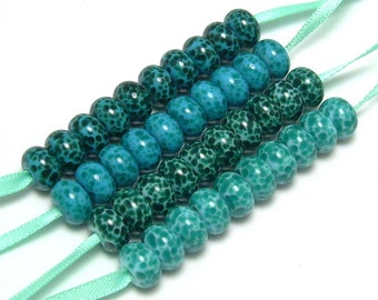 Handmade Lampwork Glass Mini Bead Collection in Teal and Turquoise - 4 sets of 10 beads