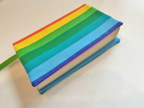 Rainbow Book Cover Material : Fabric book cover rainbow for standard size
