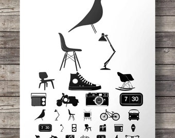 DESIGN ICONS eye test chart -  Printable wall art  - 16x20 digital print