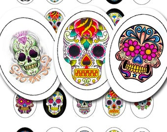Mexican sugar skull tattoos in 30 by 40 mm ovals, vintage printable digital collage sheet, no. 852.