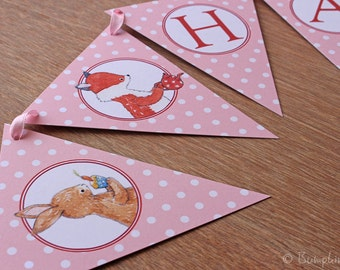 Woodland Party Banner - Tea Party Birthday with Fox, Owl, Rabbit & Badger