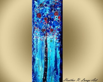 ORIGINAL art Blue Red Flowers Modern Landscape Textured Wall Art Painting Abstract Flowers and Circles Blue Red by Artist Heather R Lange