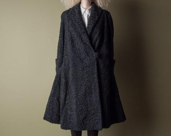 Autres marques Vintage - fourrure d'agneau persan noir
