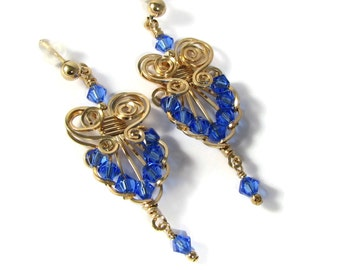 Sapphire 14k Gold Filled Chandelier Earrings Swarovski Crystal Custom Colors Vintage Style Wire Wrapped