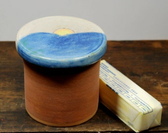 Rustic Mountain Sunrise French Butter Crock Wheel Thrown Pottery