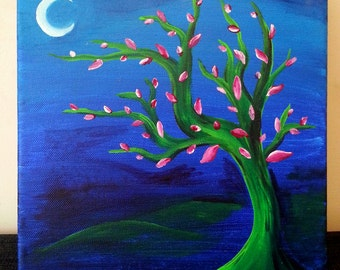 Japanese style tree painting with moon - green, pink and blue