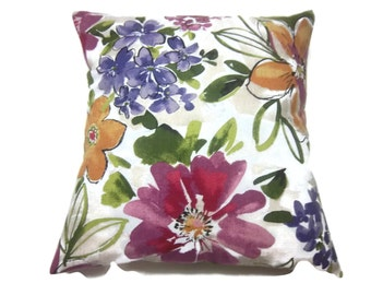 Decorative Pillow, Pillow Cover, Floral, Same Fabric Front/Back Purple, Fuchsia, Green, Gold, White,Taupe, Toss, Throw, Accent, 18x18 inch
