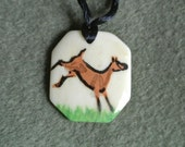 Bone Frolicking LaMancha Kid pendant-handpainted