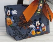Halloween Trick or Treat Candy Bag Basket Bucket - Made with Licensed Mickey Mouse Halloween Fabric