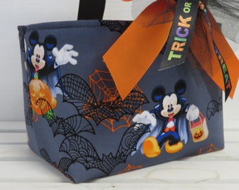 Halloween Trick or Treat Candy Bag Basket Bucket - Made w/ Licensed Mickey Mouse Halloween Fabric - Personalized Name Tag Applique Available