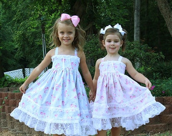 Flower Girl, romantic twirl dress, shabby tea party dress, chic Easter dress, birthday pink dress, lace, Roses, Size 12 months  to 12 yrs