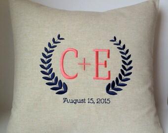 Custom Monogram Decorative Pillow Cover. Laurel Wreath. 18 x 18 Wedding Gift with Date. Couples Initials. Anniversary Keepsake. SewGracious