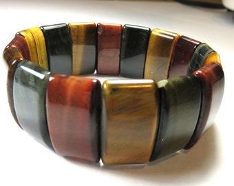 SJK Vintage -- Three Color Tigers Eye Cut Polished Gem Stone Elastic Bangle Bracelet (1960's-80's)