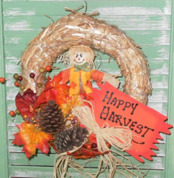 Happy Harvest Country Wreath, Fall Decor, Autumn Decor