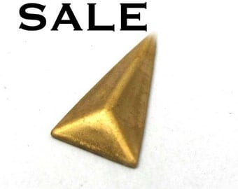 LOW Stock - Brass Pyramid Triangle Drop Charms (36X) (V296) S A L E - 66% off