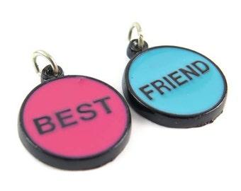 """Blue & Pink on Black """"Best Friend"""" Enamel Charms (4X) (E608)"""