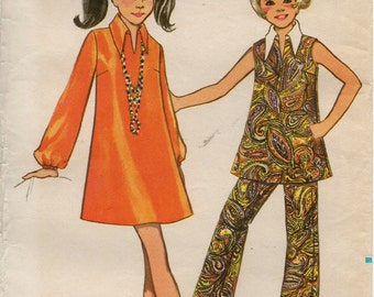 Uncut 1970's Girls' One-Piece DRESS TOP PANTS Pattern Butterick #5400 Size 12 Vintage Sewing A-Line Dress Flared Pants